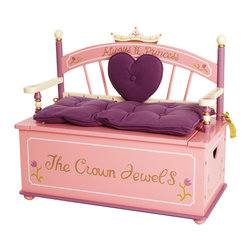 Levels of Discovery - Princess Bench Seat with Storage - Her Royal Highness will be delighted to store her treasures in this beautiful bench seat Removable padded seat cushion with gold tassels Slow-closing metal safety hinge Crown backrest. Heart-shaped back cushion. Seat cushion with tassels. Slow-closing metal safety hinge. All products have instructions included for assembly