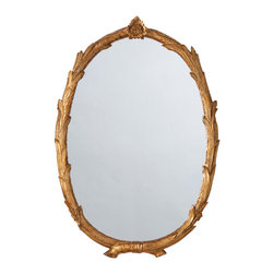 Laurel Antiqued Gold Leaf Oval Mirror - Enchantingly intertwined twigs encircle an oval lamp for a storybook allure. The gold-leaf finish simultaneously offers the quality of antiques by accenting the depth of detail on the branches and suggests the drama of baroque accents.