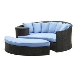 Modway Furniture - Modway Taiji Daybed in Espresso Light Blue - Daybed in Espresso Light Blue belongs to Taiji Collection by Modway Harmonize inverse elements with this radically pleasing daybed set. Seven plush throw pillows adorn Taiji's thick all weather orange cushions allowing for the splendorous blending of mediating elements. Find the key to attainment as you bask in a charged and unified landscape of expansiveness. Set Includes: One - Taiji Outdoor Wicker Patio Daybed One - Taiji Outdoor Wicker Patio Ottoman Seven - Taiji Outdoor Wicker Patio Throw Pillows Daybed (1), Ottoman (1)