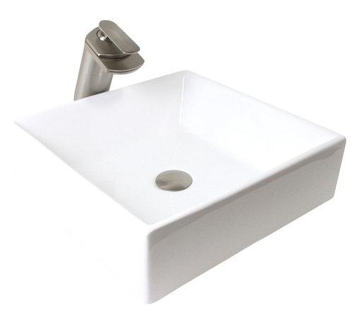"TCS Home Supplies - European Style Porcelain Ceramic Countertop Bathroom Vessel Sink - Bathroom Countertop Vessel Sink. European Shallow Bowl Style. Porcelain Ceramic. Dimensions 17 x 17 x 5""."