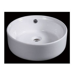 Eago - 16 in. Round Ceramic Above Mount Bathroom Bas - Round, above mount high quality porcelain basin. Chrome overflow. Rear center drain. Dimensions: 15 6/8in. x 15 6/8in. x 5 7/8in.