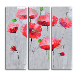 Pirouetting poppies in space Hand Painted 3 Piece Canvas Set - Add some eye-popping color to your walls with this trio of dancing poppies. Each is painted by hand on canvas for one-of-a-kind character. It's a great addition to your art collection.