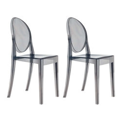 Ariel - Set of 2 Victoria Style Ghost Dining Chair Smoke Color - Stack and store this chair set easily with its innovative design. Perfect for relaxing outdoors or to provide extra seating for the dining area, the Victoria Style Ghost Dining Chair coordinates with any indoor or outdoor color scheme. Made from aesthetically pleasing  transparent polycarbonate construction, the ghost chair is more solid and more rigid than regular polypropylene chairs. Also features non-marking feet that help protect sensitive floors.