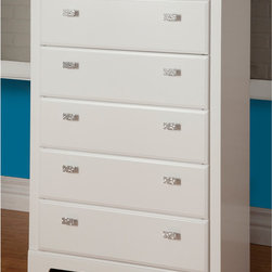 Sandberg Furniture - Sandberg Furniture Hailey 5-drawer White Chest - The Hailey 5-drawer White Chest features a beautiful white laminate finish and unique nickel glitter knobs. This chest would be a wonderful addition to any bedroom,children's room,or living room.