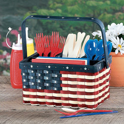 Patriotic Utensil Caddy - This is a picnic caddy for silverware and napkins in a flag design. It will keep everything from blowing away while outside.