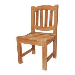 Anderson Teak - Kingston Curved Slat Back Dining Chair - Unfinished - These chairs are built to last with bold post legs and curved slatted seats.  Teak hardwood will give decades of service in the outdoors, but these are also attractive for rustic and casual indoor decor, too.  Pair with any featured table for a great dining experience. * Curved slat back design. Teak wood construction. Traditional style. Minimal assembly required. Overall: 17 in. W x 18 in. D x 36 in. H (22 lbs.). Seat height: 18 in. This simple traditional curved back style dining chair will never go out of style, but quietly blends with any other design. The seat is very sturdy as well as the back. Place this chair in your backyard with the dining table, will amazed your family or friends.