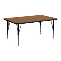 Flash Furniture - Flash Furniture 30 x 72 Rectangular Activity Table with Laminate Top - Flash Furniture's Pre-School XU-A3072-REC-OAK-T-P-GG warp resistant thermal fused laminate rectangular activity table features a 1.125'' top and a thermal fused laminate work surface. This Rectangular Laminate activity table provides a durable work surface that is versatile enough for everything from computers to projects or group lessons. Sturdy steel Legs adjust from 16.125'' - 25.125'' high and have a brilliant chrome finish. The 1.125'' thick particle board top also incorporates a protective underside backing sheet to prevent moisture absorption and warping. T-mold edge banding provides a durable and attractive edging enhancement that is certain to withstand the rigors of any classroom environment. Glides prevent wobbling and will keep your work surface level. This model is featured in a beautiful Oak finish that will enhance the beauty of any school setting. [XU-A3072-REC-OAK-T-P-GG]