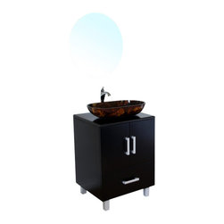 Bellaterra - 22 In Single Sink Vanity - Wood - Black - This modern bathroom vanity is an traditional design with a modern twist. Features include solid wood construction,amber multi color tempered glass vessel sink, and a black marble counter top. One drawer with full extension glide and two door panels accentuate with brush nickel finish feet.22Wx20.1Dx36H *Birch* Black* Black Marble* Tempered glass vessel sink* Brush nickel finish feet *  hardware* Pre-drilled with 1 hole - One slot faucet, faucet and mirror not included* Slight assembly required. Dimensions: 22 in. x 20.1 in.