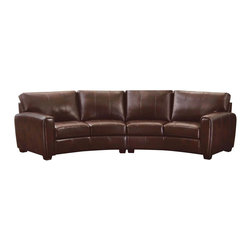 Coaster - Coaster Cornell 2 Piece Curved Sofa Sectional in Brown - Coaster - Sectionals - 503401 - The Cornell sofa sectional is the perfect place for friends and family to gather together. The subtle arched curve of this sectional reminiscent of a conversation sofa make this sectional a nice focal piece for any living room. It also features pocket coil seating attached cushions with plush padding solid wood legs and a webbed back for premium seating comfort.  Wrapped in a brown bonded leather match the sectional offers the look and feel of luxurious leather at a fraction of the cost.