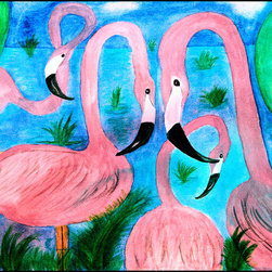 USA - Flamingo Party rug, 36x60 - Durable 20 0z. tight loop carpet with non skid rubber backing and a black edge binding. My art images are permanently applied by dye sublimation and wash with mild soap and water. Rugs are approx. 3/8 inch thick. Contact for free personalizing