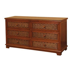 Cottage Wicker 6-Drawer Dresser
