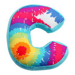 """Terrific Tie Dye - Letter Pillow """"C"""" - What a cute way to personalize your child's room with """"One Grace Place"""" Letter Pillows.  Letters are designed in all the collections signature cotton print and minky fabrics to coordinate with everything in this collection.  What a fun accessory to add to your child's room!"""