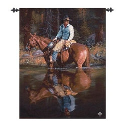 Sound In The Timber - 35W x 47H in. - Add classic western style to your man cave or den with the Sound In The Timber - 35W x 47H in. This wall hanging tapestry depicts a life-like cowboy and horse woven of cotton and blended yarns. About Manual Woodworkers and WeaversManual Woodworks and Weavers is a third generation family owned manufacturing company based in North Carolina. They have been creating quality gifts home furnishings and home décor in the USA since 1932. Their innovative designs and ability to identify trends in the gift and decorative accessories industry has won them numerous number one rankings in home décor by Gift Beat Magazine.
