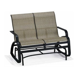 """Winston - Winston Evolution Sling Aluminum Arm Love Seat Glider - Aluminum Frames All Winston Furniture is created from non-rusting aluminum. Whether the frames are extruded (hollow tubes of aluminum formed and welded) or solid cast you can rest assured that the quality of the raw material are of the highest grade and meet industry standards for commercial use. Heliarc welding processes are utilized which ensure the strongest welds possible for aluminum joints. Cast Aluminum Winston's manufacturing facility includes an on-site aluminum foundry where all cast aluminum components are created. This eliminates outside vendors who most other manufacturers rely upon for their cast furniture. Winston is able to closely monitor the quality of the castings and ensures that the aluminum used in the casting process is pure aluminum. An additional step in Winston's casting process involves """"out gassing"""" which removes gas bubbles in the melting process which if not removed will cause weak aluminum when the trapped bubbles cure in the poured aluminum molds. These bubbles would result in broken aluminum parts due to the porous casting. This is a step that many casting companies would eliminate.   Alternative Table Tops Winston offers a multitude of table top options- Acrylic Synthetic Stone Fiberglass Cast Aluminum and Copper. This investment of options is an important element of the product line. It offers many design opportunities so that the furniture installation can coordinate effectively with the environment.   Umbrellas Winston offers two styles of umbrellas. The Traditional """"Garden Style"""" umbrella is 7' �"""" in diameter and raises and folds with a manual crank. This umbrella has a push button tilt and comes with a silver anodized pole. The other style is a """"Market"""" umbrella that spans 9' in diameter. This umbrella pole comes in a variety of different colors and also has a push button tile feature and a manual crank. Each umbrella offers more than 150 different fabric offerin"""
