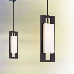 Troy - Blade Forged Iron One-Light 20.5-Inch Fluorescent Outdoor Pendant with Matte Opa - -Interior/Exterior use.  -Includes one 6, two 12, and one 18 stem with a maximum height of 59.5.  -Includes hang straight canopy. Troy - FF4019FI