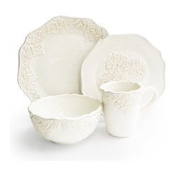 Jay Import Co - Bianca Medallion 16 Piece Dinnerware Set - Add a charming touch to your traditional table with this lovely set (16 pieces, a full service for four). Creamy white with gently curved rims and a delicate medallion motif, this dinnerware will turn every meal into something special.