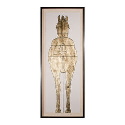 Kathy Kuo Home - Lord Helford Global Bazaar Gold Leaf Horse Back Wall Art - Framed - Worth its weight in gold. Bold, contemporary and luxe, this figure study is hand leafed in gold, then silk-screened for incredible detail. It's a powerful piece of artwork that's really perfect for anyone, but especially meaningful if you're enamored with our equine friends.