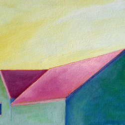 Green House (Original) by Claire Whitehead - this one reminds me of watermelon in the summer. bright pink and a cool green with blue shadows. I painted it on Arches paper for oil paints, makes it very easy to pop in a frame.