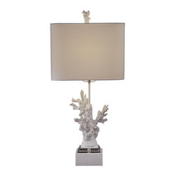 Bassett Mirror - White Coral High Gloss White Table Lamp - White Coral High Gloss White Table Lamp by Bassett Mirror