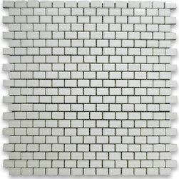 "Stone Center Corp - Thassos White Marble Mini Brick Mosaic Tile 5/8x3/4 Honed - Thassos White Marble 5/8x3/4"" brick pieces mounted on 12""x12"" sturdy mesh tile sheet"