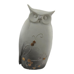 White Asian Style Owl Statue Figure 9 1/4 Inches Tall - This beautiful gray and white owl statue will look great in any room with an Asian theme. Made of cold cast resin, it has the look of bisque porcelain, and is hand-accented with metallic gold paint. It measures 9 1/4 inches tall, 4 1/2 inches wide and 2 inches deep. It makes a great gift for friends and family.