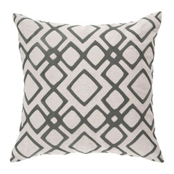 "Surya - Diamond Pattern Square Linen Pillow COM-017 - 22"" x 22"" - Looking for your very own diamond in the ruff? This is the pillow of your dreams. Its intricate geometric design permits the bold gray to pop against the soft cream backdrop, creating instant charisma within even the blandest space. This pillow contains a zipper closure and provides a reliable and affordable solution to updating your home's decor."
