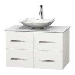 Wyndham Collection - 36 in. Single Bathroom Vanity in White, White Man-Made Stone Countertop, Arista - Simplicity and elegance combine in the perfect lines of the Centra vanity by the Wyndham Collection . If cutting-edge contemporary design is your style then the Centra vanity is for you - modern, chic and built to last a lifetime. Available with green glass, pure white man-made stone, ivory marble or white carrera marble counters, with stunning vessel or undermount sink(s) and matching mirror(s). Featuring soft close door hinges, drawer glides, and meticulously finished with brushed chrome hardware. The attention to detail on this beautiful vanity is second to none.