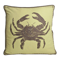 Kevin O'Brien Studio - Nautical Crab Pillow, Aquarium - Our brightly colored nautical prints are screen printed onto 100% linen; piped edging; zip closure; feather/down insert included; designed in Philadelphia and made in Nepal