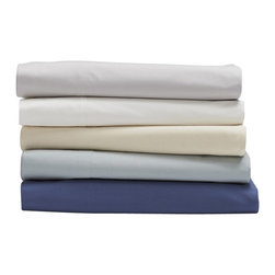 Coyuchi - 220 Percale Sheet Set Twin French Blue - Pure organic cotton in a classic percale weave makes these sheets a must-have for any linen closet. Wonderfully crisp, yet soft on the skin, they're perfect for warm nights-or warm sleepers. Destined to get smoother and softer with every wash, they are woven to a durable 220 thread count.