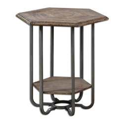 Industrial Mayson Wooden Accent Table - *Weathered, Light Tan Chippy Paint Finish Over Natural Fir Wood With Steel Gray, Forged Metal Legs