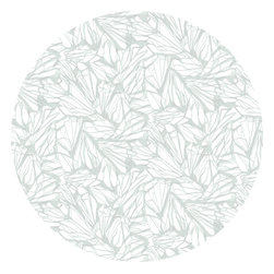 """Huddleson Linens - Aqua Printed Linen Tablecloth, 108"""" Round - Beautifully delicate organic patterned tablecloth in soft aqua tones on a white background.  This design references striated patterns found throughout nature from stone to butterfly wings.  Printed on the finest soft Italian linen.  Creates a visually stunning textured backdrop to your table setting.  Machine washable."""