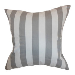 """The Pillow Collection - Ilaam Stripes Pillow Storm Twill 18"""" x 18"""" - Update your living room or bedroom with this modern throw pillow. This decor pillow is made from 100% soft cotton fabric, which makes it the perfect accent piece for your sofa, bed or sectionals. This square pillow features a classic stripe pattern in alternating storm gray and twill hues. This accent pillow goes well with solids and patterns. Hidden zipper closure for easy cover removal.  Knife edge finish on all four sides.  Reversible pillow with the same fabric on the back side.  Spot cleaning suggested."""