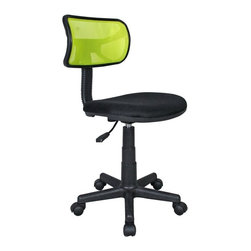 """Techni Mobili - Techni Mobili Mesh Task Chair in Yellow - Mesh Task Chair in Yellow by Techni Mobli The Techni Mobili Mesh Task Chair is a fun, lightweight office chair that features breathable mesh back support, a contoured fabric seat cushion, and a pneumatic seat height adjustment lever that provides a 3 inch range in seat height from 15.5"""" to 18.5"""". The durable design includes a heavy-duty plastic shell back, a 5-star nylon base provide, and dual wheel non-marking casters for durable, stable mobility. COLOR: Lime.  Office Chair (1)"""