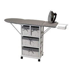 None - Nordic Sunrise All-in-One Ironing Board and Shelving Unit - This ironing shelf is a storage unit and an ironing board all in one. When not in use, you can fold the ironing board down to save space while still looking great.