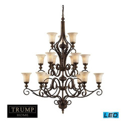 Elk Lighting - Elk Lighting Briarcliff 15 Light 3-Tier Chandelier in A Weathered Umber Finish - 15 Light 3-Tier Chandelier in A Weathered Umber Finish belongs to Briarcliff Collection by Briarcliff Embraces The Lifestyle Of Simple Luxury And Understated Elegance. Incorporating Rustic Tuscan Charm In The Intricate Leaf Details And Metalwork, The Weathered Umber Finish, Textured Amber Scavo Glass And Carved Castings Reflect Robust Design And Bold Detail. - LED, 800 Lumens (12,000 Lumens Total) With Full Scale Dimming Range, 60 Watt (900 Watt Total)Equivalent , 120V Replaceable LED Bulb Included Pendant (1)