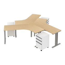 Bush - Bush Momentum 3-Person Dog-Leg Workstation in Natural Maple - Bush - office Sets - MOM063AC - Contemporary open architecture design fosters teamwork. Bush Momentum enables supports and inspires creativity. It's modular furniture in step with today's evolving office environments. Dogleg Right Desk 3-Person Configuration has three 3-drawer Mobile Pedestals (B/B/F) that bring teams together. Adaptable to any office size it's long on style and modest and easily reconfigurable. Dog Leg Right Work Surface offers ample space to spare. Mobile Pedestal has two � extension box drawers for miscellaneous personal or office supplies. File drawer accepts both legal- letter- or A4-size files. Freestanding rectangular leg kit with durable metallic silver powder coated paint finish lets Work Surfaces stand alone and matches height of all Momentum desks or work surfaces for almost limitless configurations. Sturdy durable welded steel construction lasts for years. Adjustable levelers compensate for uneven floors. Includes all hardware and an assembly tool Durable Diamond Coat finish on all work surfaces resists stains and scratches. Includes Bush Limited Life Time warranty.