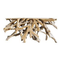 Teak Root Console Table- 6 Ft. Length - Substantial console makes for an impressive accent anywhere in the home!