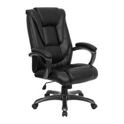 Flash Furniture - Black Leather Swivel Office Chair w Headrest - High back design. Passive ergonomic back support. Black powder coat finished nylon loop arms. Padded leather arm rests. Well padded seat and back. Waterfall seat to promote healthy blood flow. Pneumatic seat height adjustment. Spring tilt control mechanism. Tilt tension control. Heavy duty nylon base with black powder coat finish. Dual wheel casters. Warranty: 2 years limited. No assembly required. Back: 21 in. W x 27.25 in. H. Seat: 21 in. W x 21 in. D. Seat Height: 19 - 22.5 in.. Arm Height from Floor: 26.75 - 30.5 in.. Arm Height from Seat: 9.5 in.. Overall: 30 in. W x 27.25 in. D x 42.25 - 46 in. H (47 lbs.)