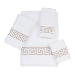 Avanti - Avanti Madison Sutton Bath Towel in White - Avanti's Madison collection bath towels are 100% cotton, plush, soft, and zero twist. The chic and sophisticated Sutton pattern features an embroidered Greek key motif in a warm shade of linen on a white background.
