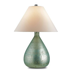 Currey & Company - Helene Large Table Lamp - Mercury glass gets a makeover as a sea blue finish offers a unique and sophisticated look for this Helene table lamp. The lamp catches the light with a bit of shimmer on its classic teardrop shaped base topped by an Off white shantung shade. The hand finishing process that is used on this lamp lends an air of depth and richness not achieved by less time consuming methods.
