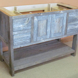 Reclaimed Barn Wood Bathroom - Minnesota Reclaimed Weathered Gray Wood, repurposed into reclaimed wood bathroom vanities by Vienna Woodworks.Custom sizes are available.  Prices start at $497.00 for a 24 inch vanity base.