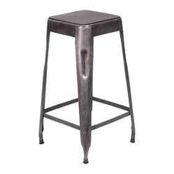 Felix Tolix Style Bar Stool, Wood Top