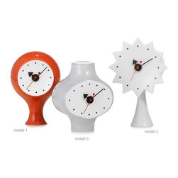 Nelson Ceramic Clocks - hivemodern.com - George Nelson designed these whimsical ceramic clocks in the fifties, but for some reason they were never put into production. Luckily, the Vitra Design Museum is now making them available for us so we can add some mad personality to our nightstands!