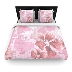 "Kess InHouse - Catherine Holcombe ""Flower Power Pink"" Map Fleece Duvet Cover (King, 104"" x 88"") - You can curate your bedroom and turn your down comforter, UP! You're about to dream and WAKE in color with this uber stylish focal point of your bedroom with this duvet cover! Crafted at the click of your mouse, this duvet cover is not only personal and inspiring but super soft. Created out of microfiber material that is delectable, our duvets are ultra comfortable and beyond soft. Get up on the right side of the bed, or the left, this duvet cover will look good from every angle."