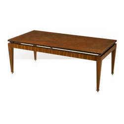 Theoodore Alexander - Houston Coffee Table - rosewood veneered and lacquer cocktail table, the 'floating' rectangular lacquered top supported on stainless steel balls, the rosewood veneered frieze and square tapering legs with stainless steel feet.