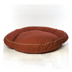 Frontgate - Small Classic Twill Bolster Bed - Blue/Khaki Piping Dog Bed - Overstuffed with soft, resilient poly fiberfill (no harsh cedar chips). Protects walls and furniture from the oil in your pet's coat. Heavyweight cotton twill cover removes for laundering. Cord-trimmed neutral colors blend with most any decor. Ideal for use as either a dog bed or cat bed. Our Classic Bolster Pet Bed will serve as a welcome comfort for your four-legged companion. This luxury pet bed conforms to your dog's body and insulates against the cold.. Protects walls and furniture from the oil in your pet's coat. . . .