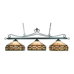 Elk Lighting - Tiffany-Lighting 3-Light Billiard/Island in Tiffany Bronze with T8 Shades - The stained glass Billiard Collection takes its cues from the game, sporting colorful, detailed illustrations and classic victorian themes. Use over a pool table or kitchen island for optimal illumination.