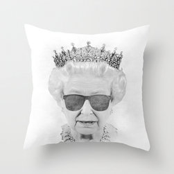 Queen Throw Pillow - The Queen with shades. She is probably not amused.