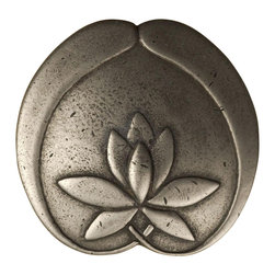 """Anne At Home - 3"""" Asian Lotus Flower Knob (Set of 10) - Hand cast and finished. Made in the USA. Pewter with brass insert. Collection: Asian. 3 in. L x 3 in. W x 1 in. H"""