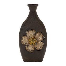 Traditionally Designed Metal Vase - Description: